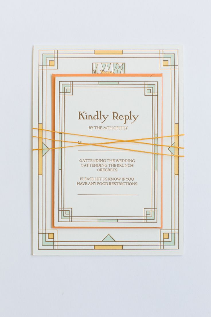 Yonder Design | Custom Event Design, Wedding Inspiration, Custom Invitations, Craftsman Poppy, Orange, Unique Invitation, Letterpress, Graphic Design, Frank Lloyd Wright, Monterey Bay Wedding, Julia Morgan, Pebble Beach Wedding, Summer Wedding, July Wedding, Reply Card