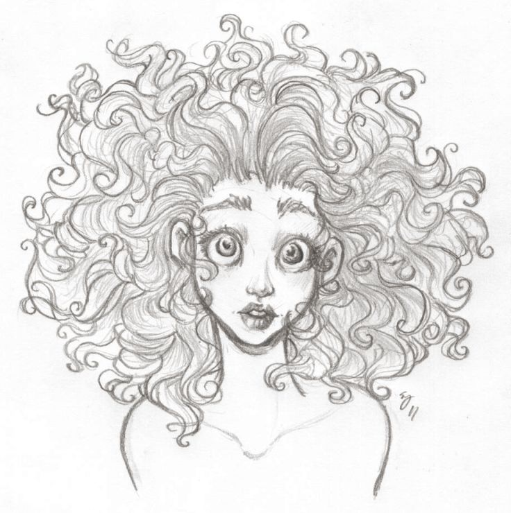how to draw tight curly hair