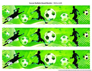 Sports are an important part of the school experience and a good hook to draw interest in a topic. With this product you can decorate your bulletin boards with soccer themed borders to visually enhance displays, engage students interest, and target themes for certain times of the year, like soccer season or during soccer at your school.This product includes 1 soccer bulletin board sized 10.5 X 2.25 on one 11 X 8.5 page.