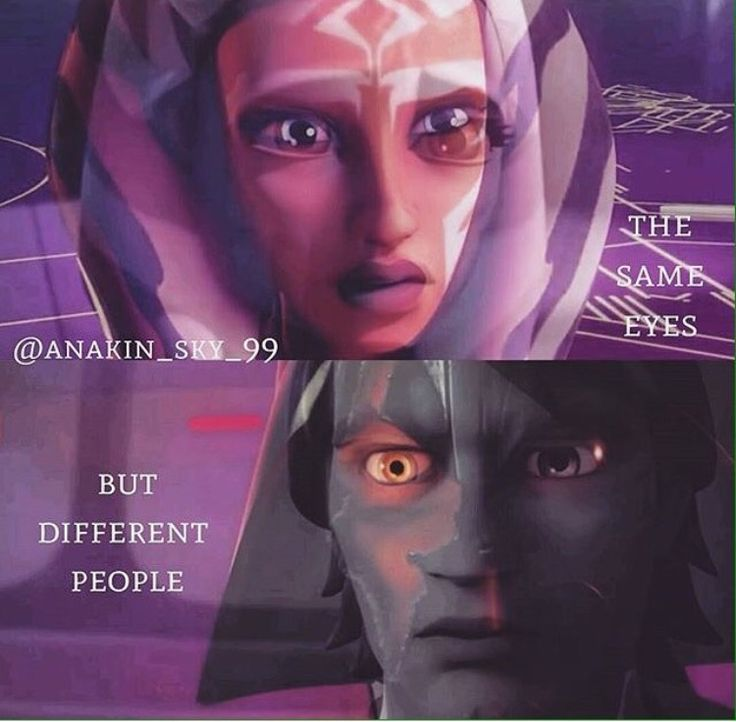 They r different ppl. The ppl they were in the clones wars r dead. They r both damaged. And pain changes u…