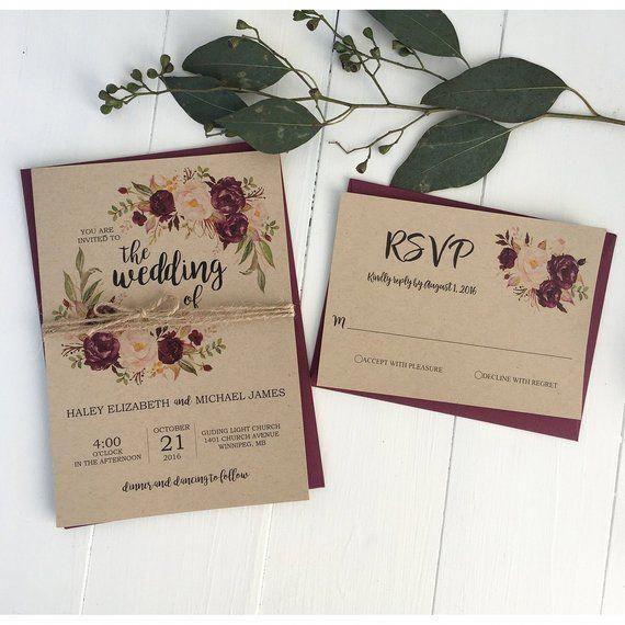Rustic Marsala Floral Invitation Suite for Bohemian Wedding   Etsy #weddinginvitations