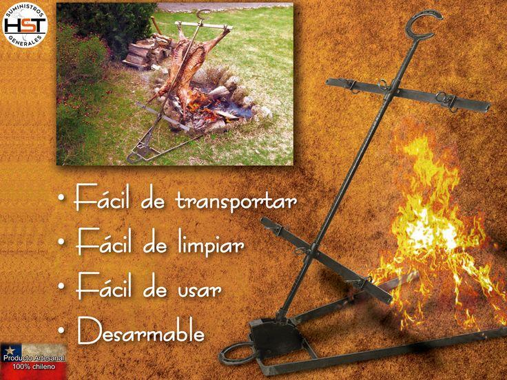 Asador vertical - Práctico utensilio para asar diferentes tipos de carnes al aire libre.