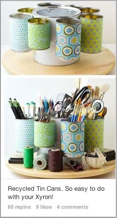 Recycle tin cans into a tool caddy.