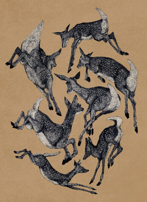 Spring Fawns. By John Stortz. @ Debby Overfield - This reminds me of the pointillism drawings that Greg used to make.