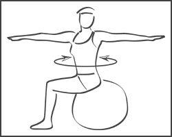 Swiss-ball : Abdominaux - Exercice avec ballon N°2 / Muscles sollicités : Obliques (muscles de la taille)
