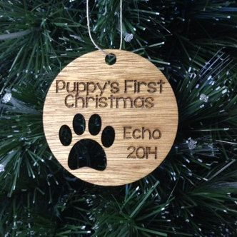 Personalized Dog Christmas Ornament - Puppy's First Christmas with Name and Year, Stained Finish and Hang-Ready