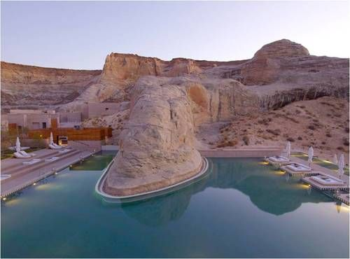 The Amangiri Resort, located in the desert canyons of Utah. I love how the pool contours to the rock formations—perfect for a Southwest getaway.  Via: Design Boom