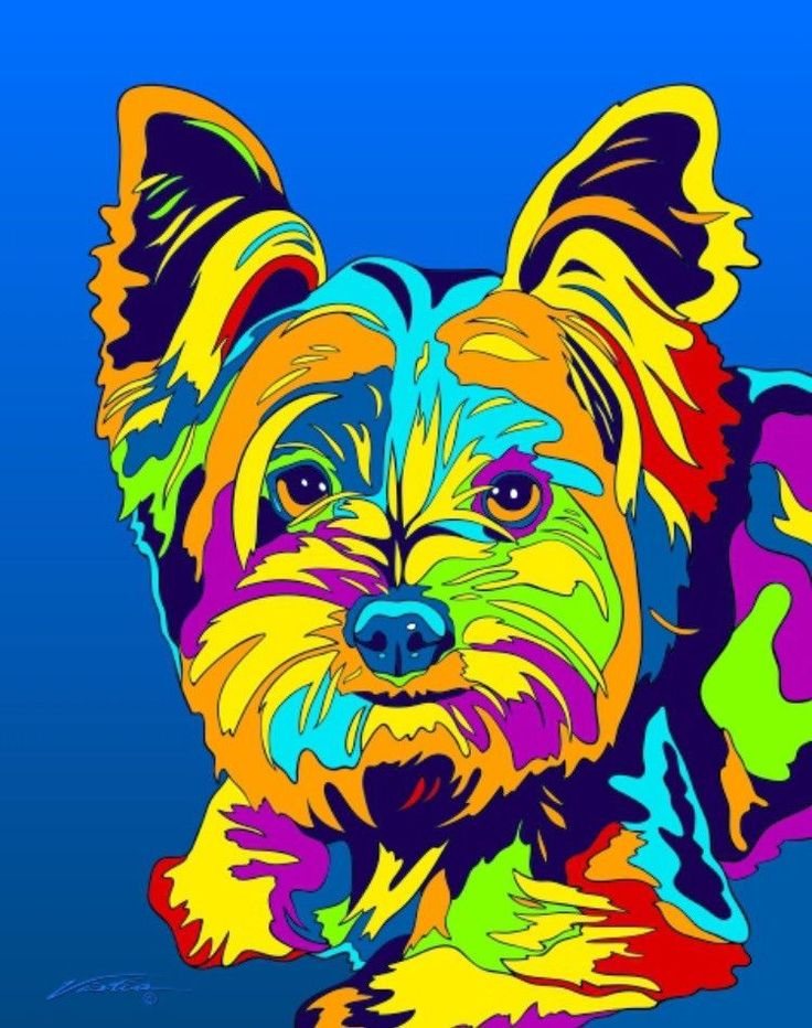 Multi-Color Yorkshire Terrier Dog Breed Matted Prints & Canvas Giclées