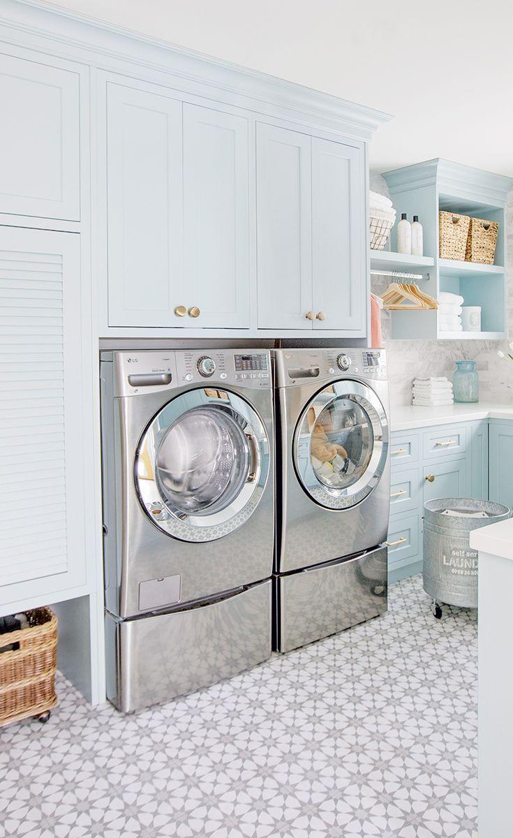 Jillian Harris S Bright And Cheery Laundry Room Style At Home In 2020 Laundry Room Storage Laundry Room Closet Storage