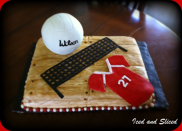 - Volley ball is chocolate rice krispy treats covered in fondant. cake is covered in fondant. Jersey is modeling chocolate. Red velvet w/ cream cheese frosting. Thanks for looking!