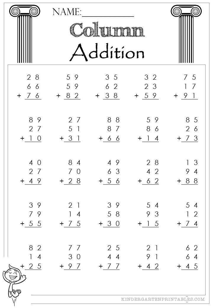 Two Digit Column Addition 3 addends Worksheet  Column Addition 2 Digit 3 addends