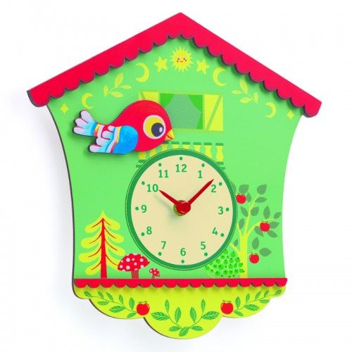 A whimsical wooden clock that is inspired by the traditional cuckoo clock. Featuring a cute red bird and large, easy-to-read hands, this clock makes a colourful addition to a nursery or children's bedroom.