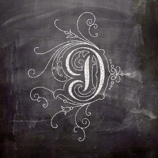 A fancy D in simple chalk. Maybe for a decal on a wall or something