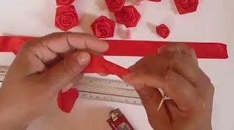 Rosas com fita de cetim - Como fazer? - YouTube