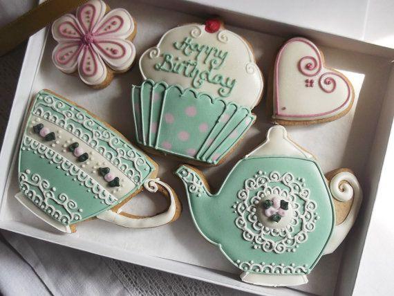L'heure du thé Vintage Style joyeux anniversaire Cookie