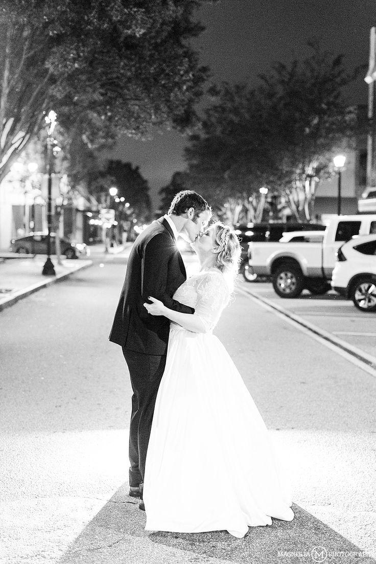 Bride & Groom | B&W | City Lights | The Martinsborough Greenville, NC Wedding Photographer | Sara & Ashley Wedding - Magnolia Photography
