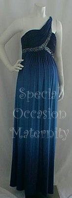 Long Military Blue Gown One Shoulder Maxi.  #dress