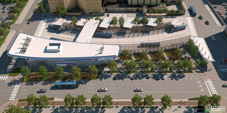 Aerial View from City-County Building | IndyGo Downtown Transit Center | Indianapolis, Indiana | Axis Architecture + Interiors and Rundell Ernstberger Associates rendering: (c) Anifex, LLC