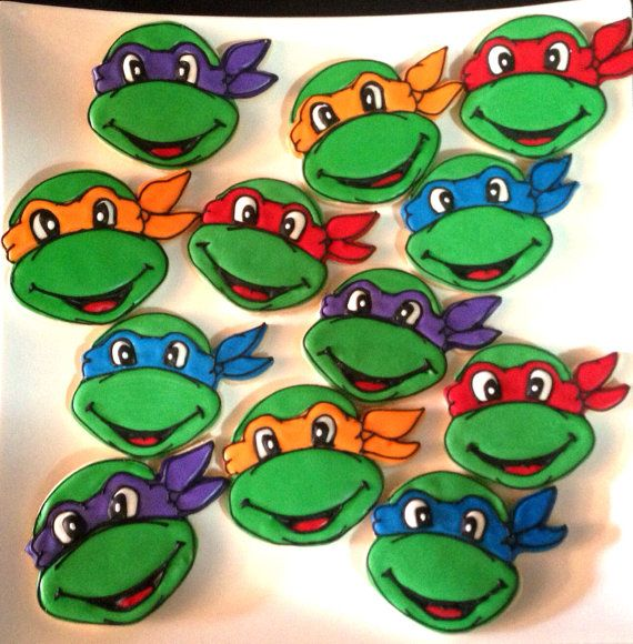 12 Teenage Mutant Ninja Turtle Cookies by BakeMyDayCookies on Etsy