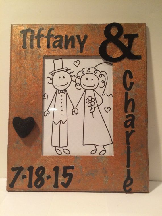 personalized wedding picture frame wedding gift by Bedotted