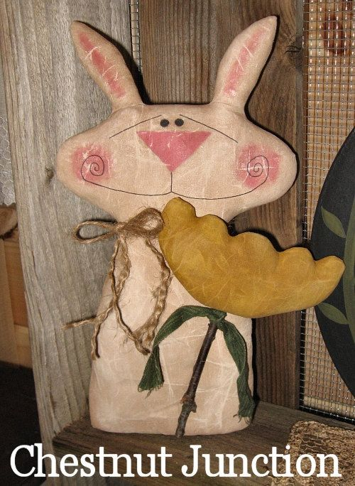Tulip Hare EPATTERN...primitive easter spring cloth doll bunny rabbit fabric craft sewing pattern decoration ornament design decor by Chestnut Junction