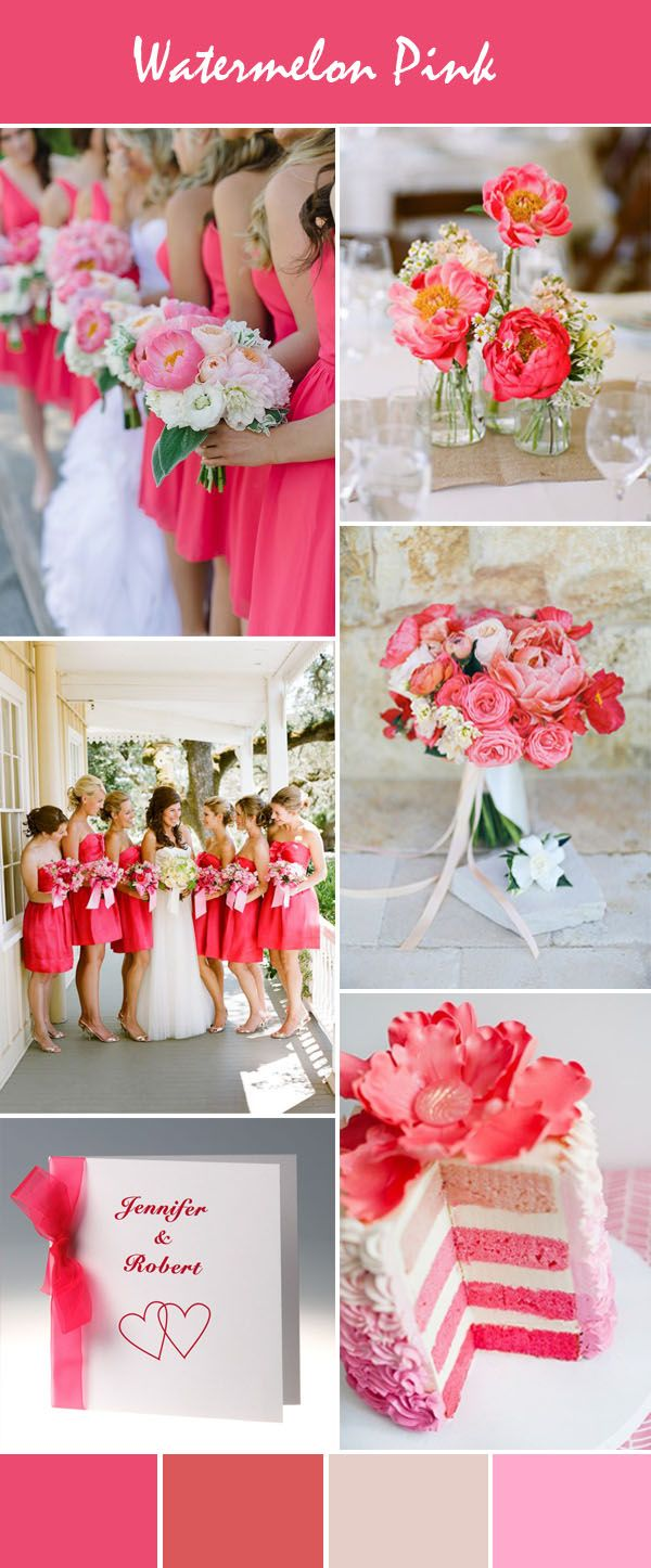 gorgeous watermelon pink wedding ideas and wedding invitations