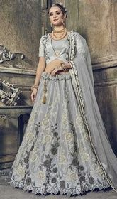 Gray Color Silk Embroidered Lahenga Choli #indianlehenga #lehengaforplussize Go for the sophisticated look with this gray color silk embroidered lahenga choli. The wonderful attire creates a dramatic canvas with amazing lace, stones and resham work. Upon request we can make round front/back neck and short 6 inches sleeves regular lahenga blouse also. USD $ 369 (Around £ 255 & Euro 280)
