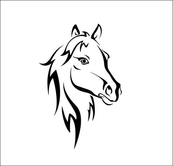 Pretty Horse Head Equestrian File Svg Ai Dxf Eps Png Etsy Horse Silhouette Horse Stencil Horses