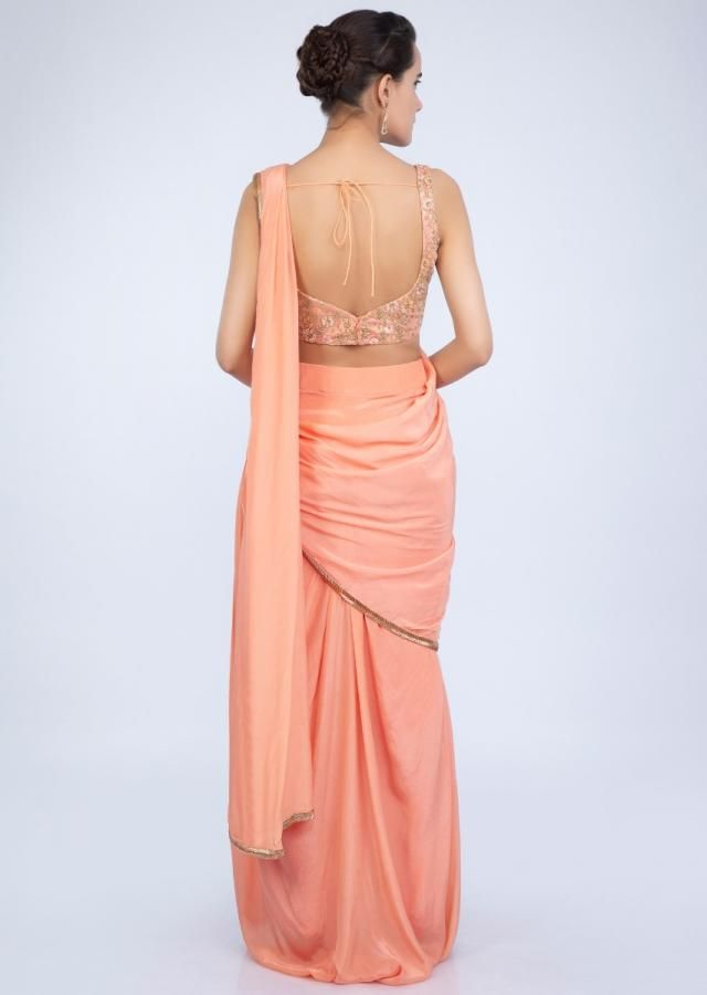 db6b5cd8c Peach crepe satin ready plated dhoti saree only on Kalki