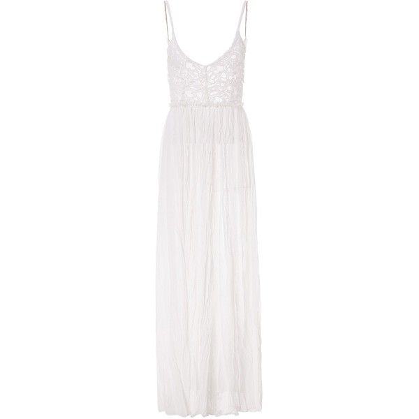 Lace Splicing Sleeveless Backless V Neck Wide Hem Sexy Style White... (€21) ❤ liked on Polyvore featuring dresses, rosegal, sexy cocktail dresses, sexy white dresses, v neck cocktail dress, white sleeveless dress and white lace dress