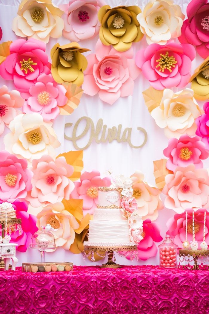 Gold, blush, and pink oversized flowers with personlized name in the background in this Garden Tea Party at Kara's Party Ideas.