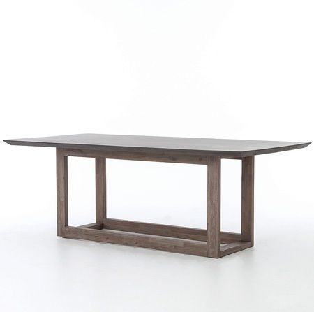 Masonry Wood and Black Concrete Top Dining Table 79""