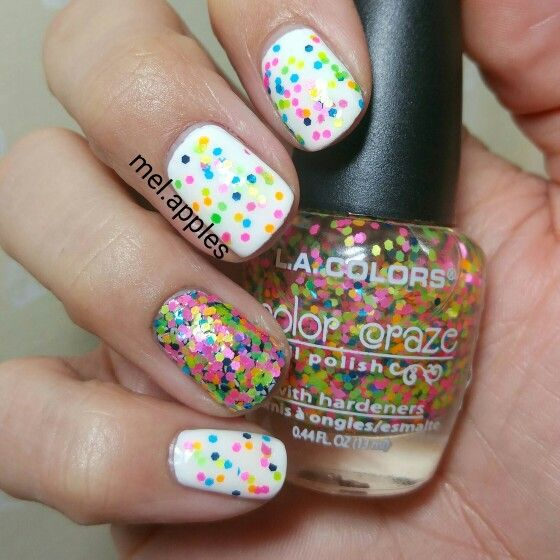 L.A. Colors Craze in the color Craze CNP646. Multicolor neon matte and blue metallic glitter. Shown as one dabbed coat over white. Does not spread well if brushed on. Ring finger is sponged over black.