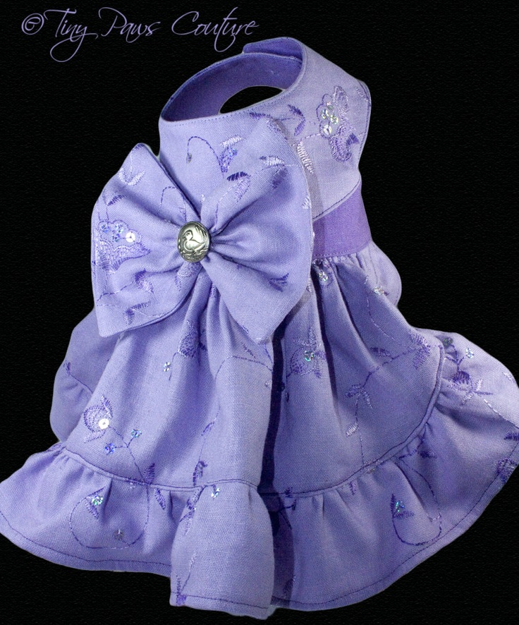 Lavender Fun Couture Embroidered Linen  Dog Harness Dress, Limited Edition. $75.00, via Etsy.