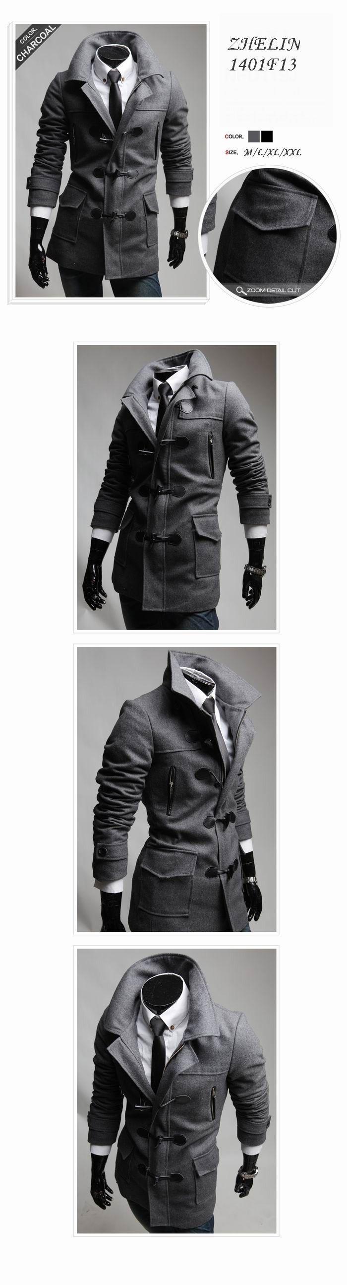 Moda Stylish Men casacos 2015 dos homens de lã masculino trincheira casacos de inverno casaco de lã botão da buzina casaco de lã casacos M XXL em Lã e Mesclas de Roupas e Acessórios Masculinos no AliExpress.com   Alibaba Group