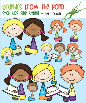 $4.50 Stick Kids Side Sitting and Reading - Clipart for TeachingThis is a fun set of 24 individual files to use in your classroom and teacher resource files that you sell and distribute.This set includes all clipart in color and blackline. This set includes a side view of 3 boys and 3 girls, sitting and reading and also sitting with their hands in their lap/on knees.