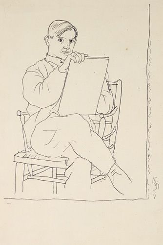 Pablo Picasso (1881-1973)  Self-Portrait Undated (Biarritz, Summer 1918) Pencil on paper, 32 x 21,5 cm Private collection