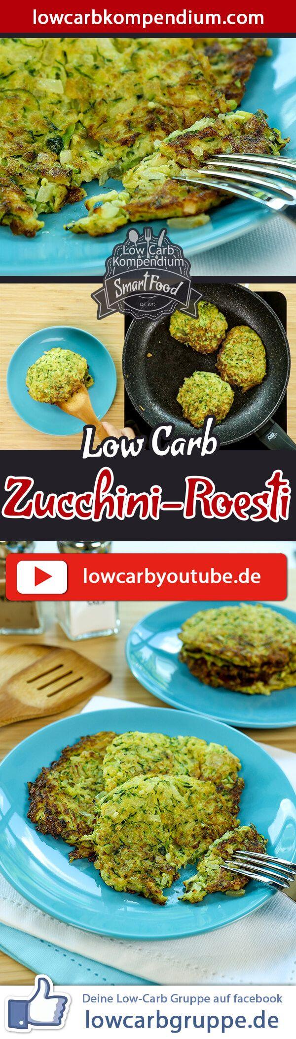 DiesesZucchini Roesti Rezept ist als herzhafter Low Carb Snack einfach genial. Die gesunde und kalorienarme Zucchini als Hauptzutat ist einfach unschlagbar. Das grüne Gemüse liefert viele wertvolle Nährstoffe und ist bei Jung und Alt sehr beliebt.    Wenn Du ein paar Zucchini Roesti mehr brätst, dann kann aus den leckeren Rösti im Handumdrehen eine Hauptmahlzeit werden. Zu den Zucchini Roesti passt auch prima Kurzgebratenes oder zum Beispiel knusprige Hähnchenschenkel - und dein Mittagessen…