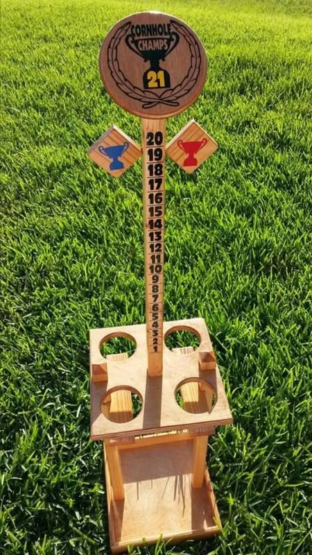 Cornhole Score Tower / Drink Holder / Bag Caddy Combo: Cornhole Champs Caddy!!