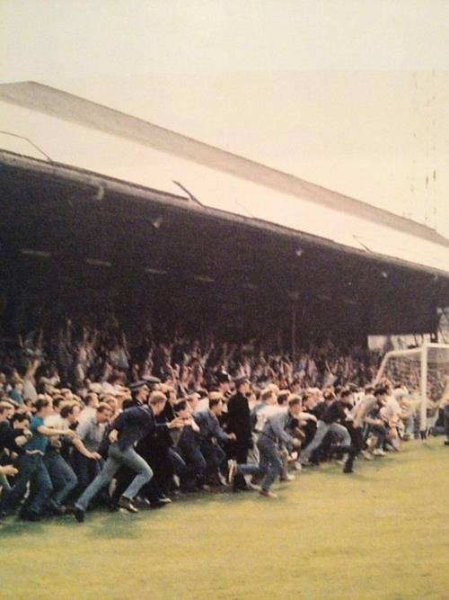 Pitch invastion at the Goldstone Ground, former home of Brighton & Hove Albion