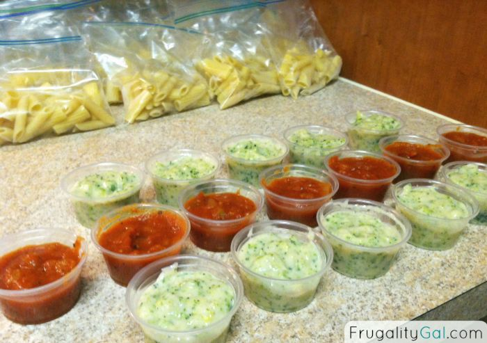Freezer Cooking Recipes: $0.24 Microwavable Pasta Lunches