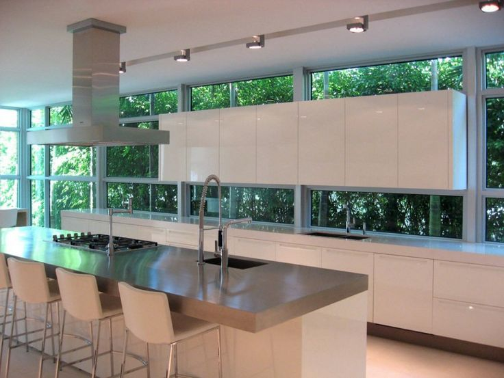 Architecture, Architecture Home Interior Design Contemporary Kitchen Island Bar Stools Tap Cabinet Vent A Hood Ceiing Lamp Glass Wall Transp...