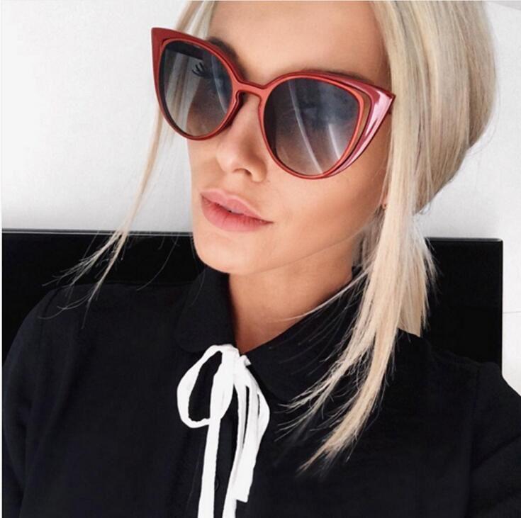 БУТИК Моды Новый Cat eye женщины солнцезащитные очки с vintage круглые линзы марка Дизайнер Очки Óculos де золь высокое качество