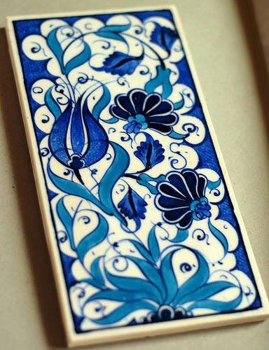 hand-painted contemporary iznik tile
