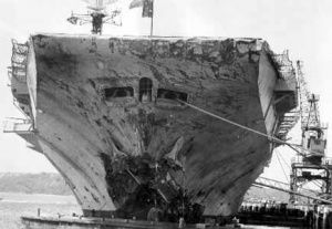 The bow of HMAS Melbourne following the Voyager disaster in February 1964.