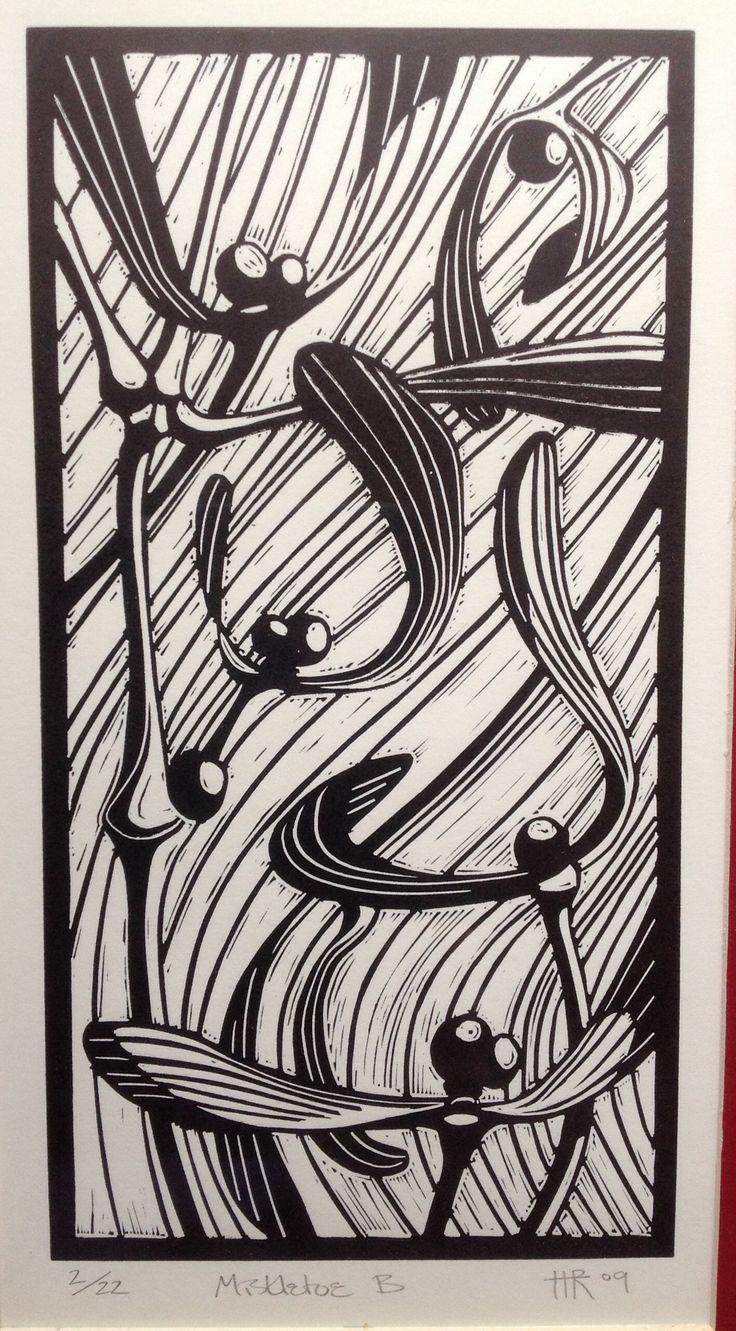 Mistletoe linocut by Helen Roddy.