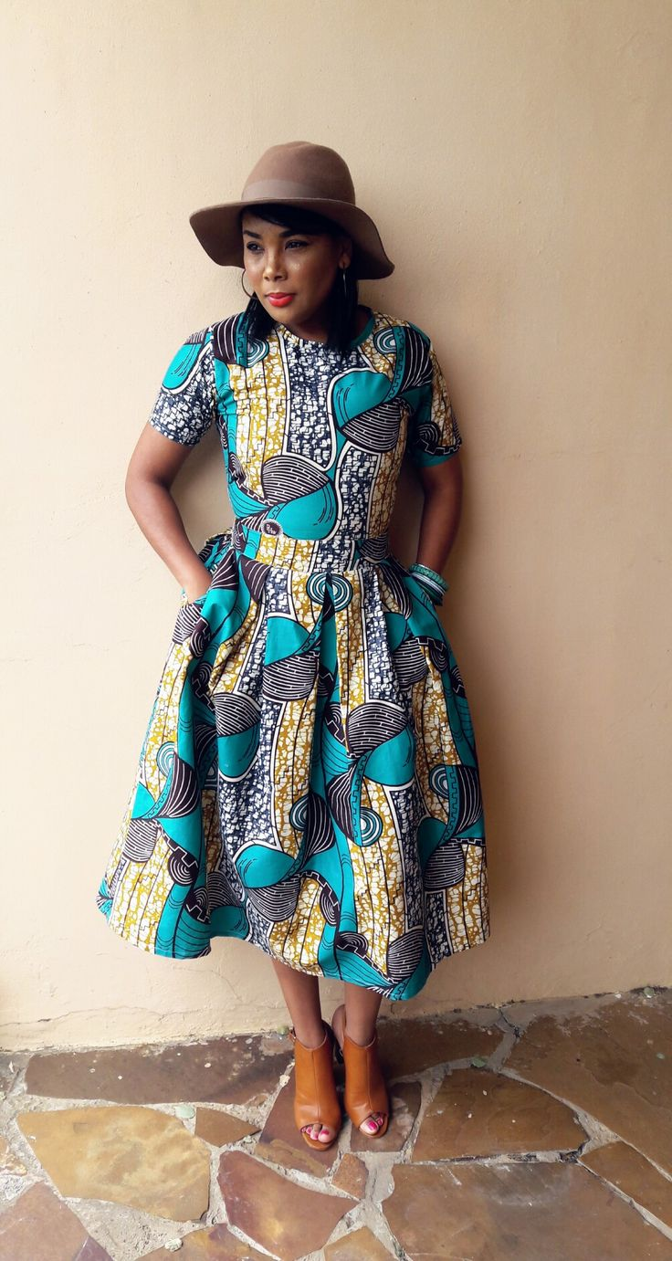 Turquoise and beige African print dress by CultureCut