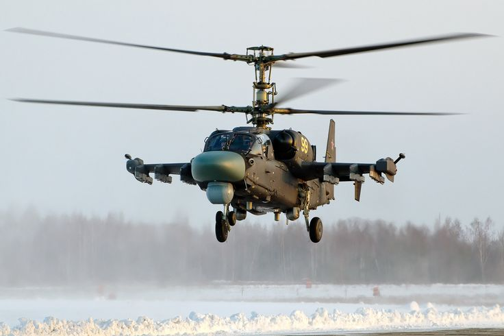 "The Soviet/Russian Kamov Ka-52 ""Alligator"" (or Hokum B in NATO parlance) attack-scout helicopter. Alligator saw combat in the Chechen wars. Russian sources claimed the helo proved herself under difficult terrain and weather conditions. On 22 February 2013, the Russian Air Force base in Krasnodar received the first batch of Ka-52 helicopters for training to commence in March."