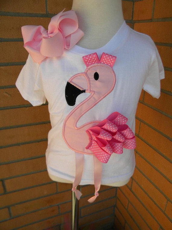 Pink Flamingo Ribbon Applique Shirt by tcannon2414 on Etsy, $25.00
