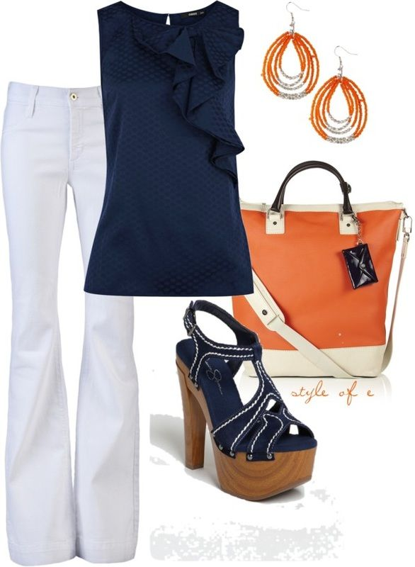Love white pants and the bag that delivers a pop of color